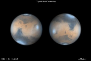 Mars blue atmosphere and clouds