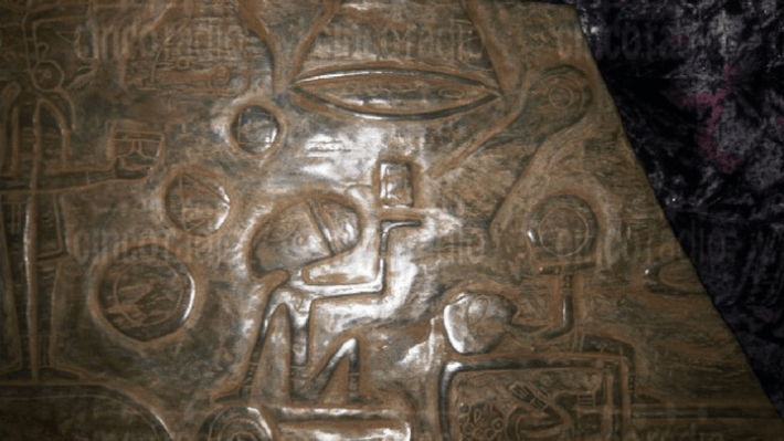 Stone carvings in a cave which could prove mayan alien