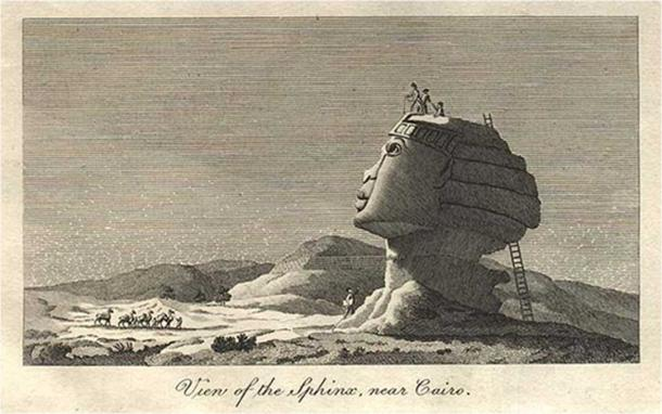 Vivant Denon's sketch of the sphinx in 1798 depicts a man being pulled out of a hole in the sphinx's head (public domain)