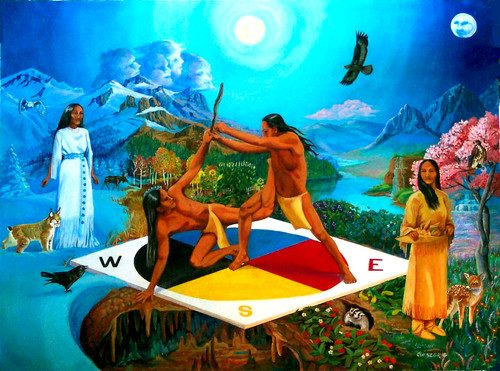 the interpretations of the indian creation myth Most indian tribes attribute this creation to a creator, and their stories show great similarities to the creation story outlined in the book of genesis the salinan indians of southern california say: when the world was finished, there were as yet no people, but the bald eagle was the chief of the animals.